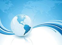 蓝色地球动感曲线背景素材