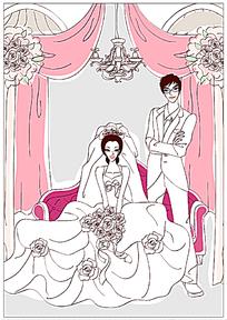 沙发前坐着的新郎和新娘手绘矢量