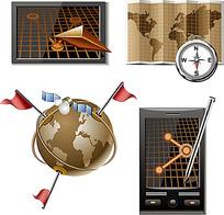 矢量地球全球定位系统图形