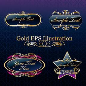 矢量金色花纹图标设计