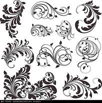 黑白矢量花纹花纹素材