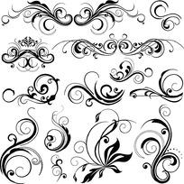 简洁黑白手绘花纹花边