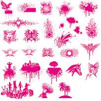 粉色花纹动物边框素材