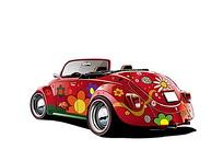 红色彩绘汽车矢量素材