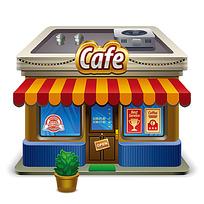 咖啡店手绘立体图形