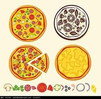 卡通披萨矢量素材