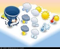可爱卡通天气矢量图标