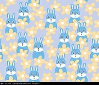 矢量兔子小花背景图案