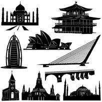 手绘世界著名建筑物剪影
