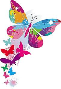 五彩缤纷飞舞的蝴蝶矢量素材