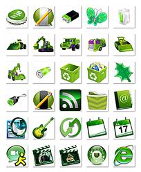 瓶盖和蝴蝶等绿色质感图标