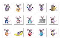 不同姿态的老鼠图标