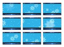 蓝色背景雪花视频素材