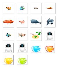 鱼和机器人等图标