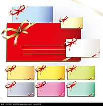 多彩蝴蝶结矢量卡片