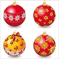 精美红色圣诞彩球矢量素材