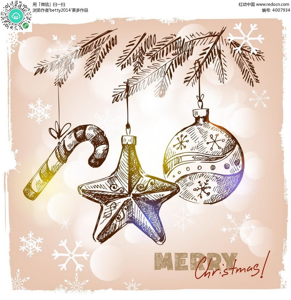 免费素材 矢量素材 节日矢量素材 圣诞节 手绘圣诞雪花背景素材