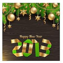 彩带2013背景金色圣诞球五角星边框素材