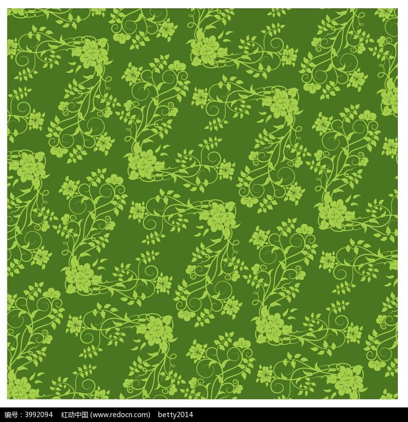 手绘藤蔓花边绿色