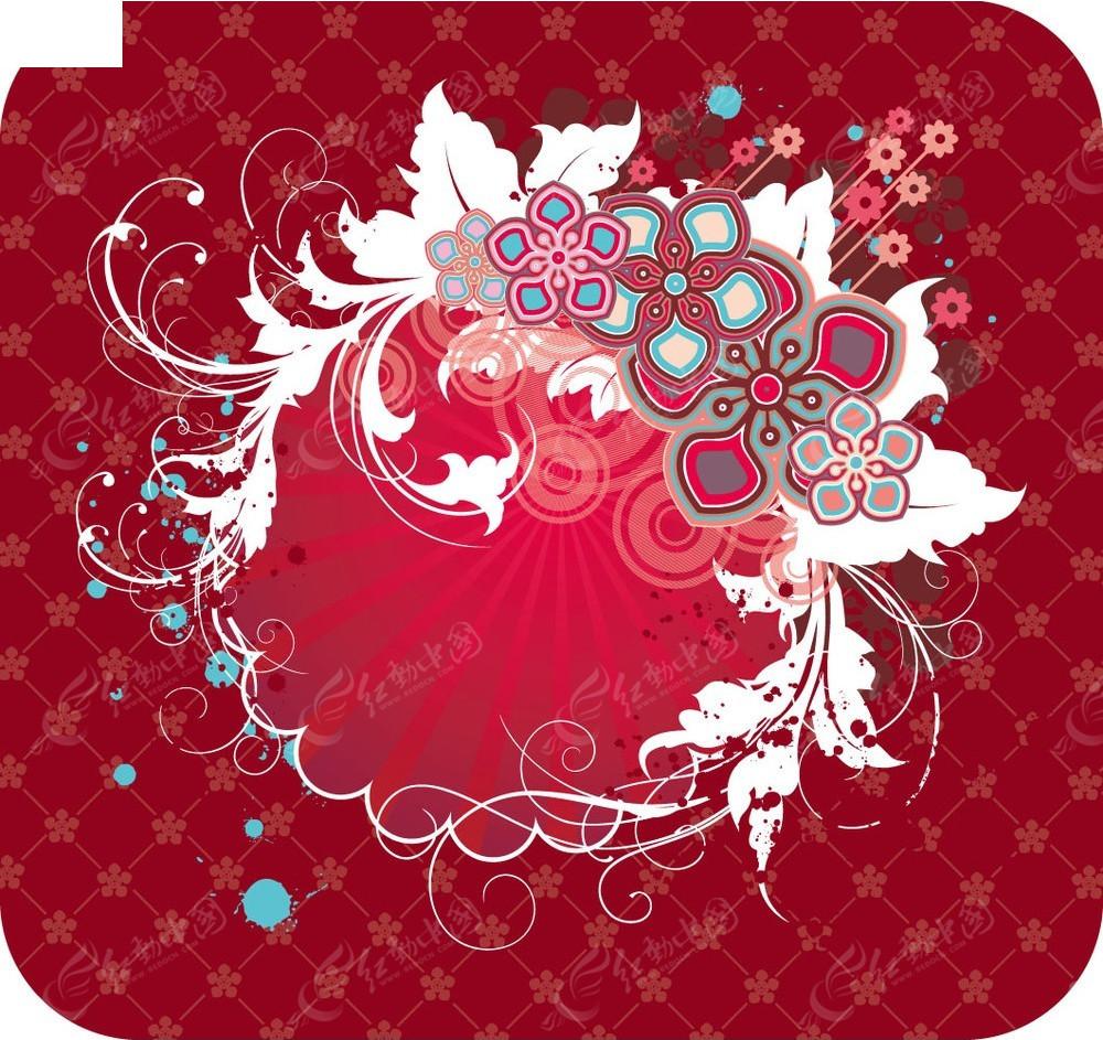 花朵和藤蔓花纹红色矢量背景