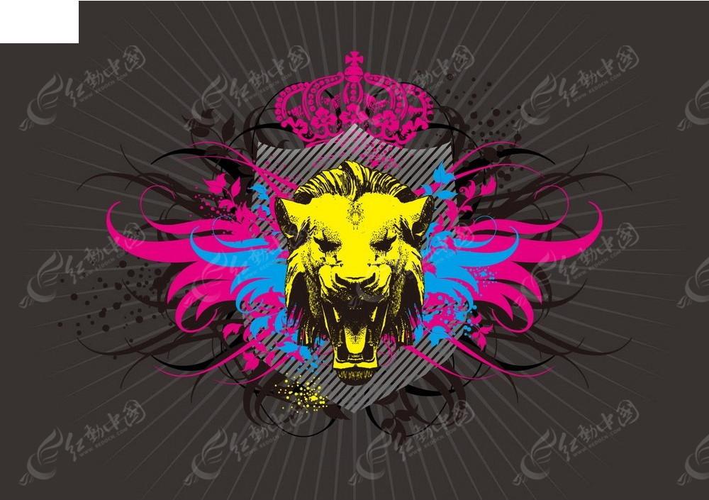 免费素材 矢量素材 花纹边框 底纹背景 皇冠和狮子图案矢量背景