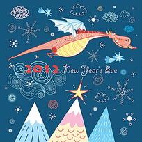 卡通飞龙背景2012龙年卡片