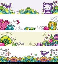 卡通花纹水纹动物边框背景画