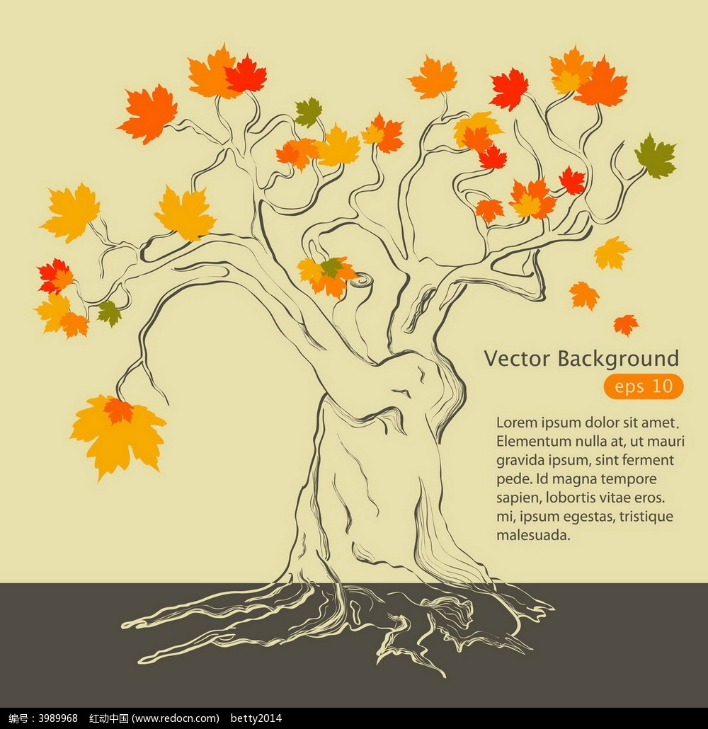 手绘枫树背景图形