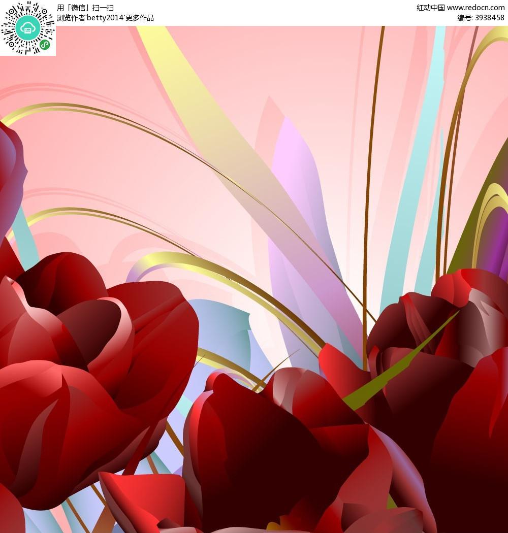 手绘花朵背景素材矢量图eps免费下载_底纹背景