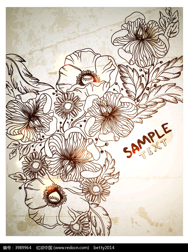 手绘花枝背景素材