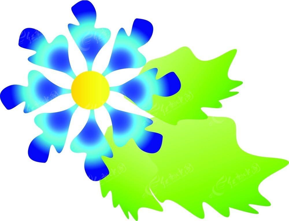 手绘蓝色花朵