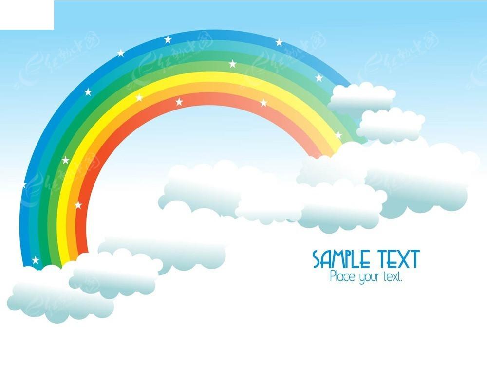 彩虹蓝天白云矢量背景
