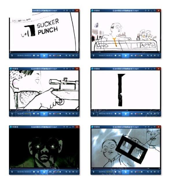 黑白手绘娱乐片头视频