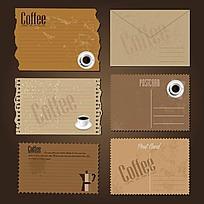 咖啡信纸信封矢量素材