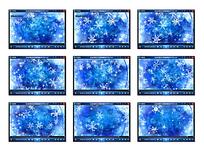 蓝色雪花背景视频