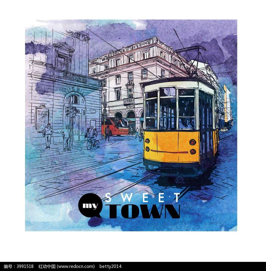 手绘城市电车背景图