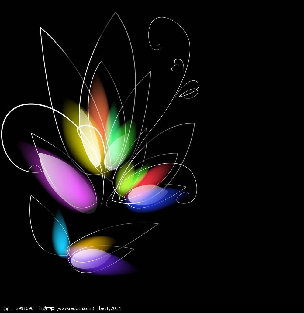 手绘光影花朵矢量背景图形
