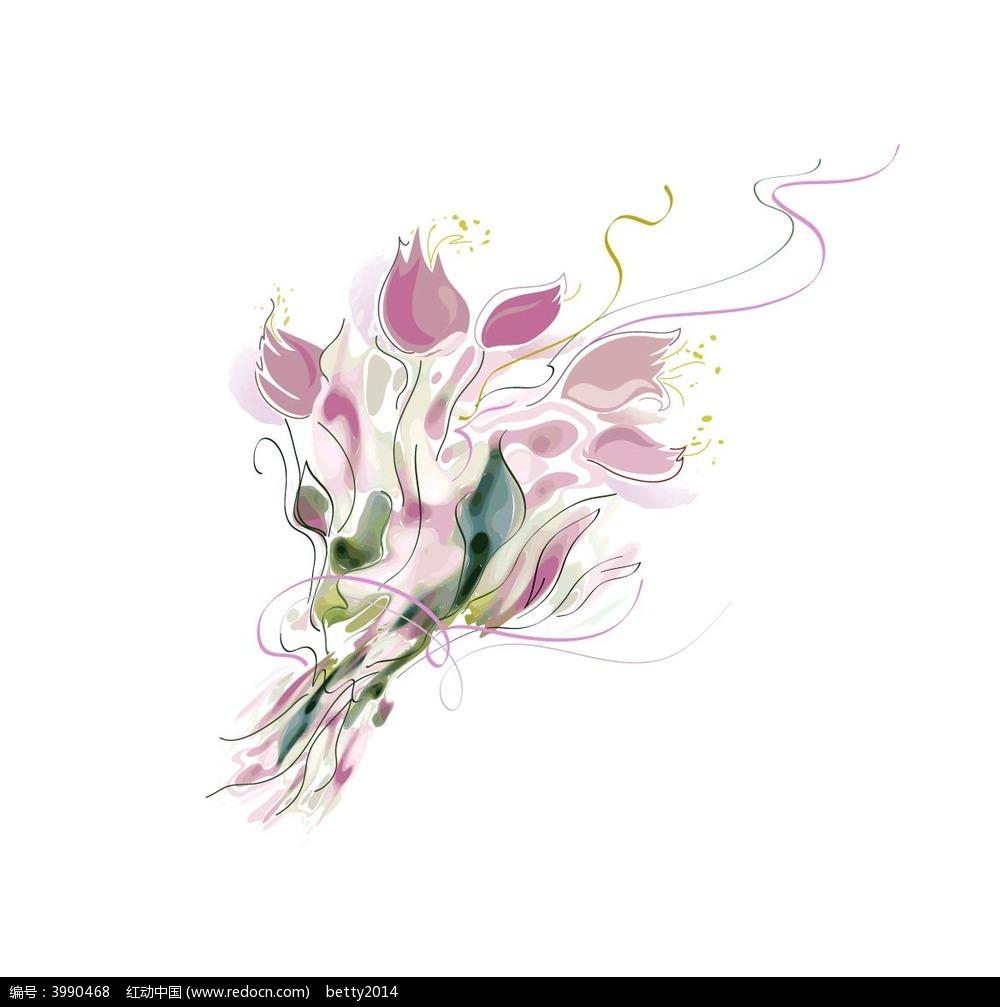 手绘花束矢量图形