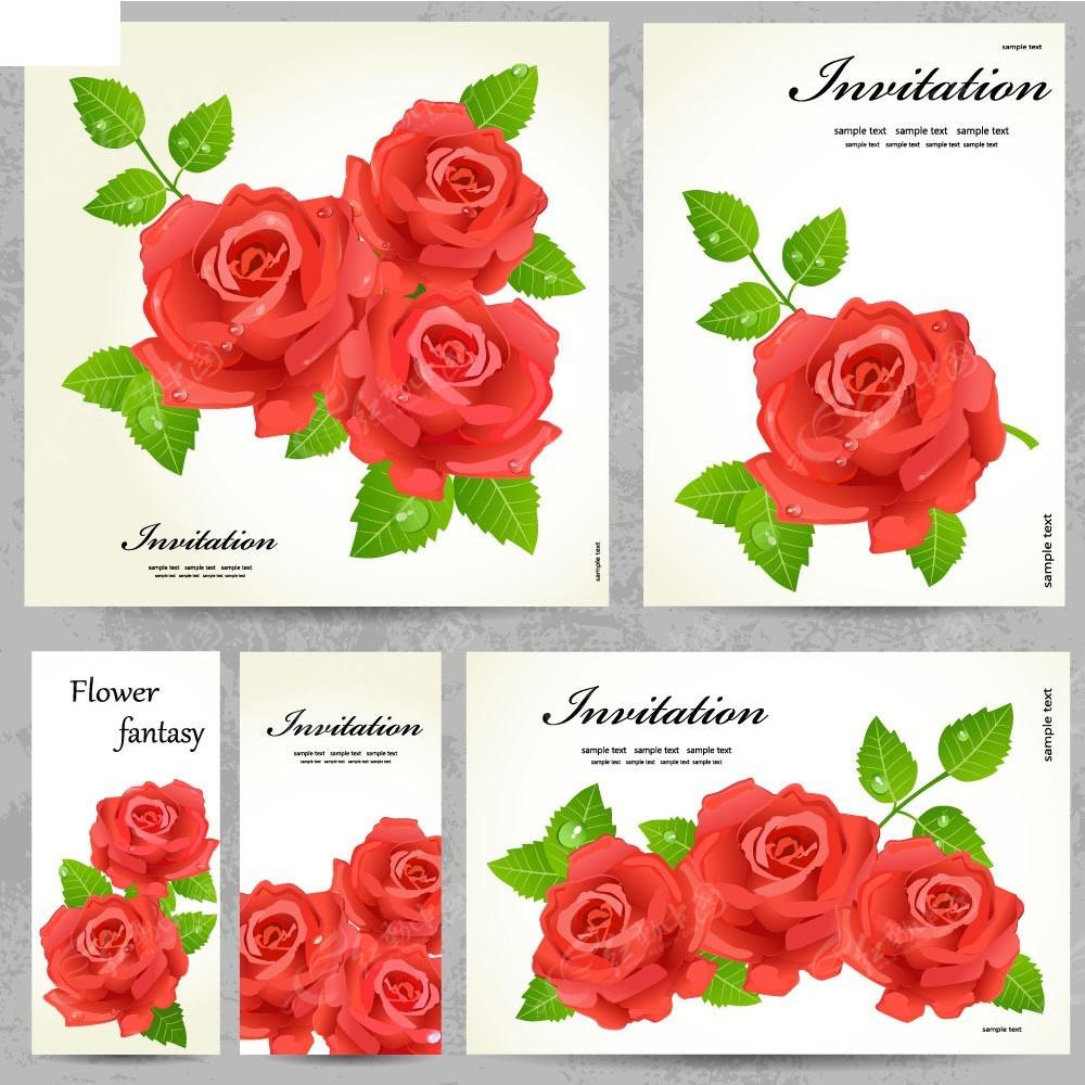 手绘玫瑰花背景矢量卡片