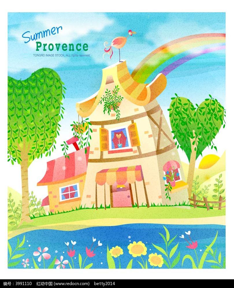 夏季城堡彩虹手绘插画背景