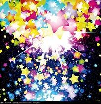 多彩五角星星光矢量背景