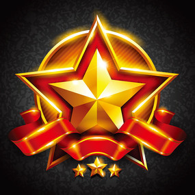 金色边框五角星圆圈飘带矢量图标