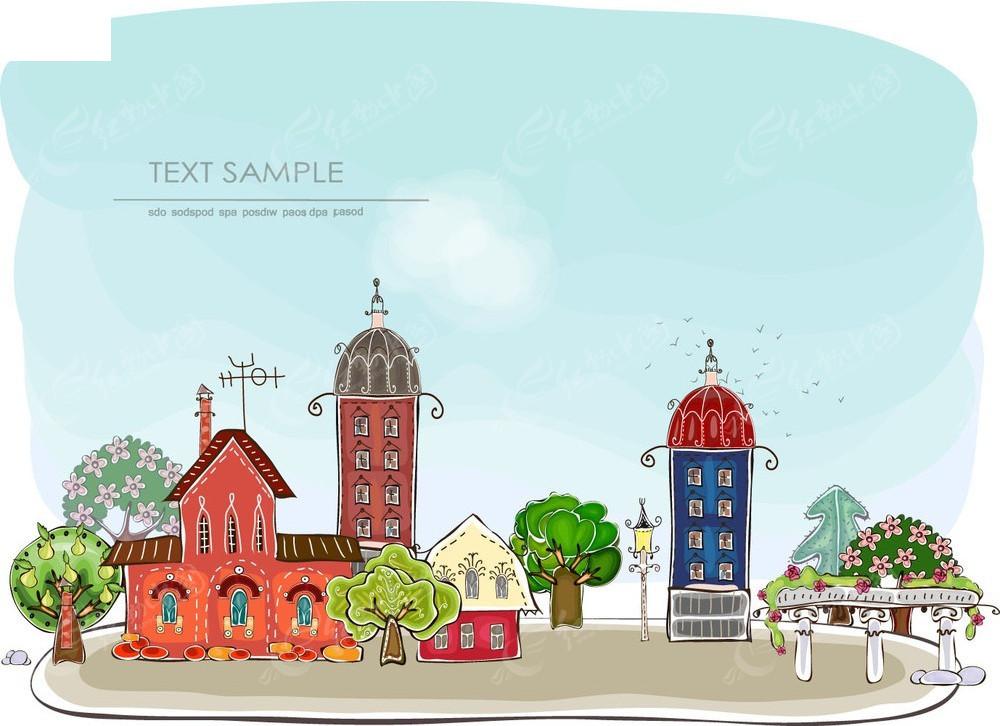 手绘房子广场矢量背景