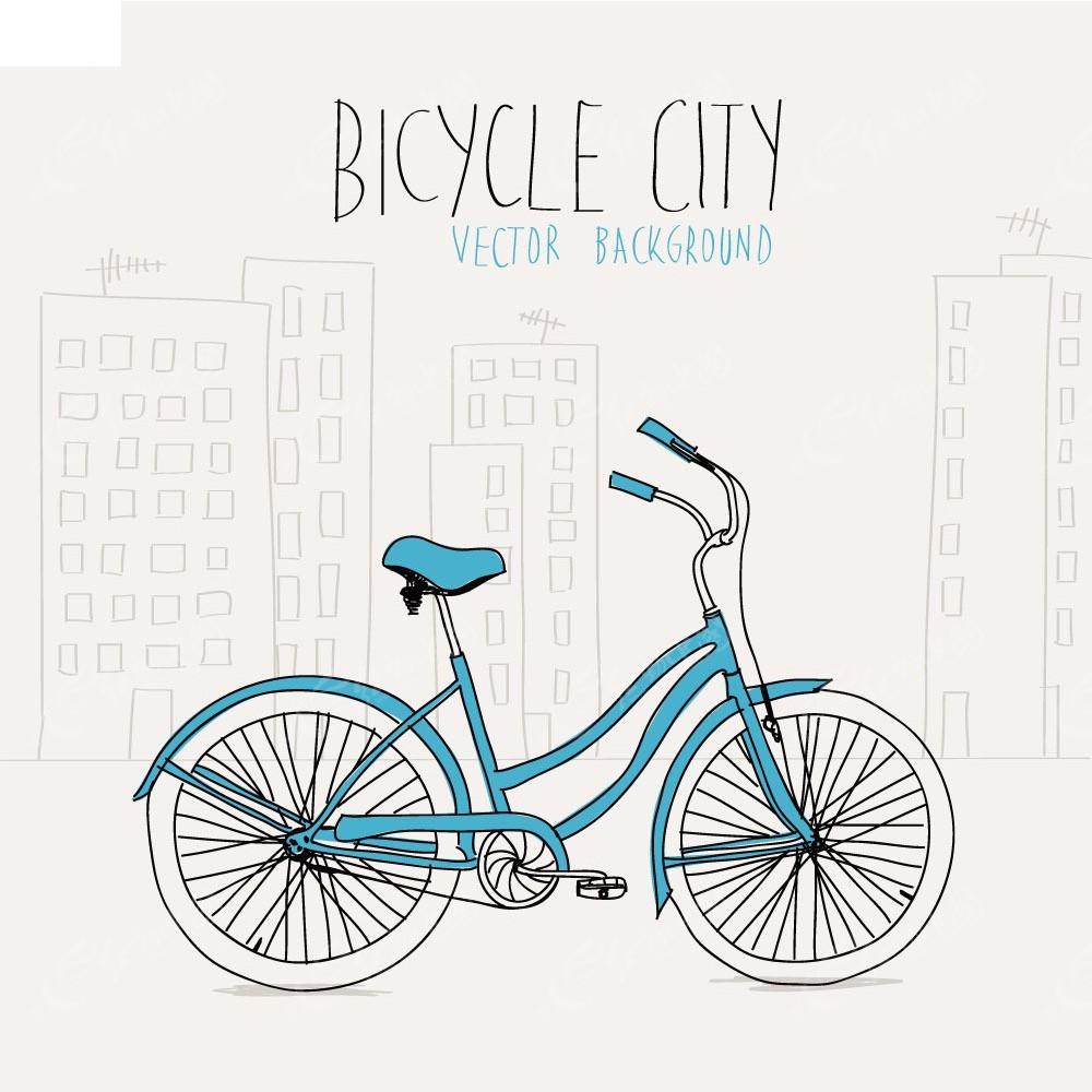 自行车手绘画背景