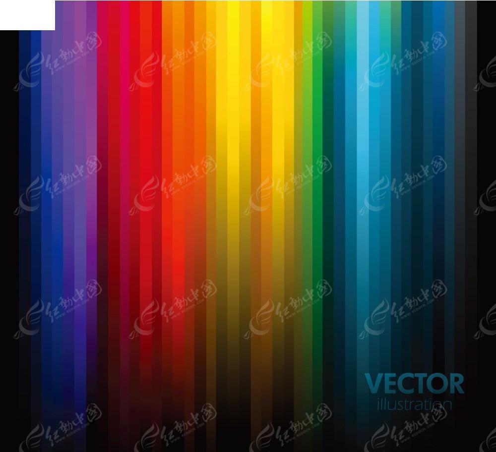 彩虹色竖线条矢量背景