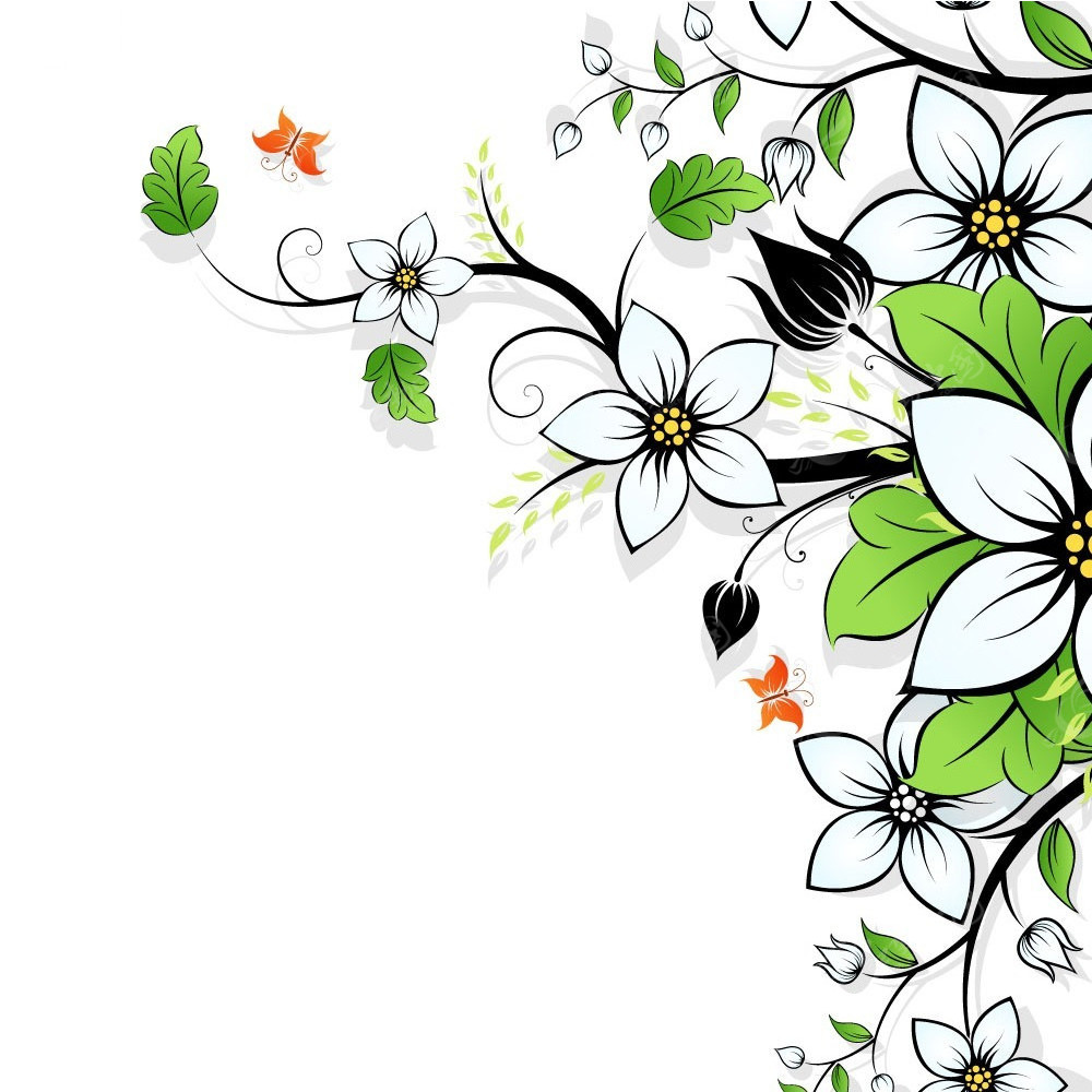 简笔画花边框-花枝花朵边框矢量背景EPS素材免费下载 红动网