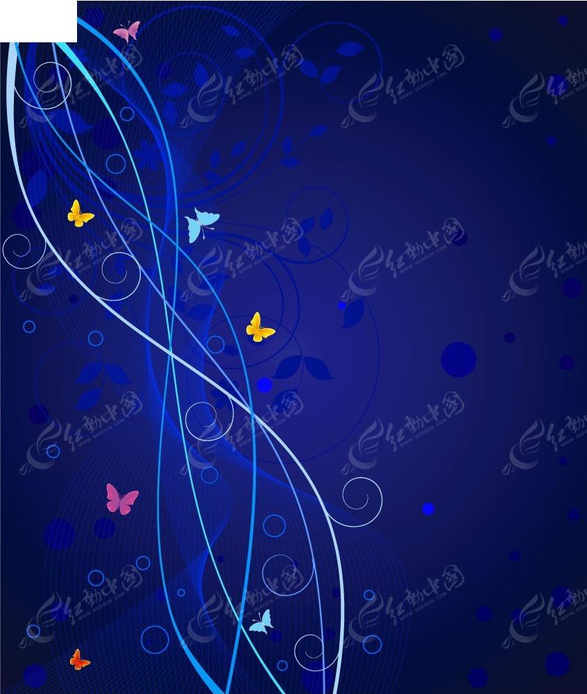 蓝色蔓藤花纹彩色蝴蝶矢量背景