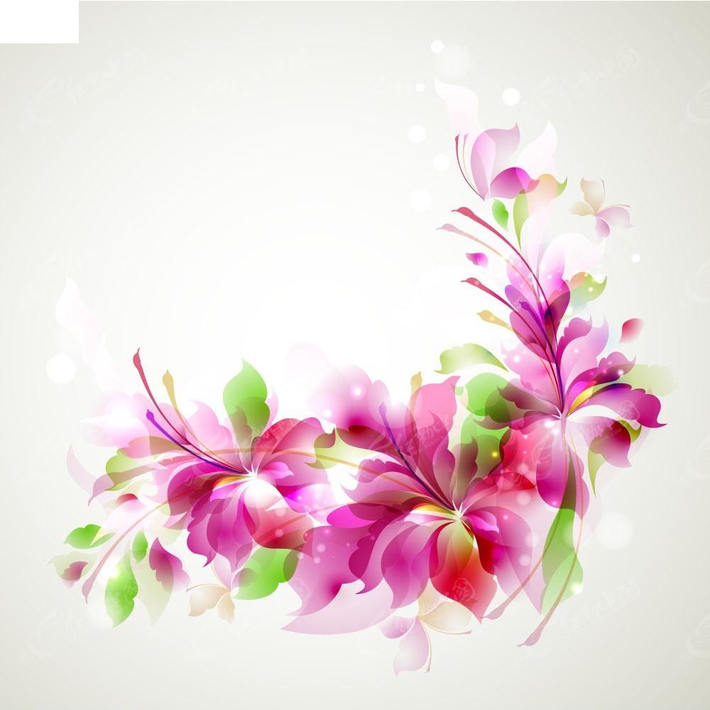 免费素材 矢量素材 花纹边框 底纹背景 梦幻炫彩荧光花卉背景矢量素材