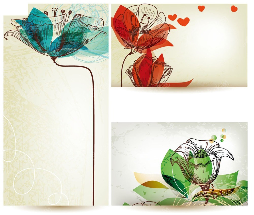 手绘花朵边框矢量卡片背景