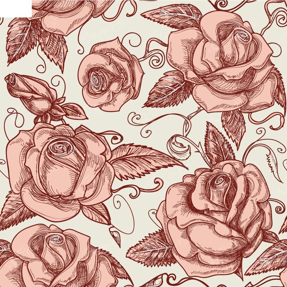 手绘玫瑰花底纹背景
